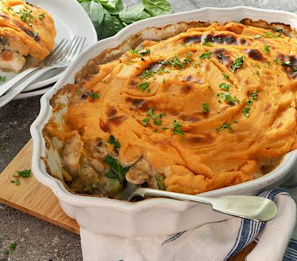 Chicken & Mushroom Bake with Vegetable Mash